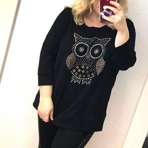 Style & Co owl studded sweatshirt top 3/4 sleeve